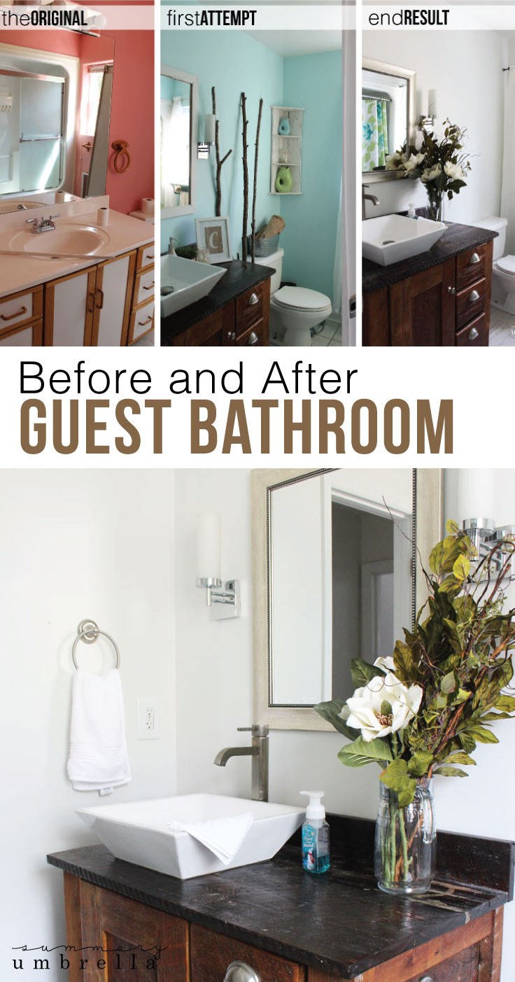 Sometimes in order to achieve your perfect room you'll need to try a few things out first. Kind of like this before and after guest bathroom!
