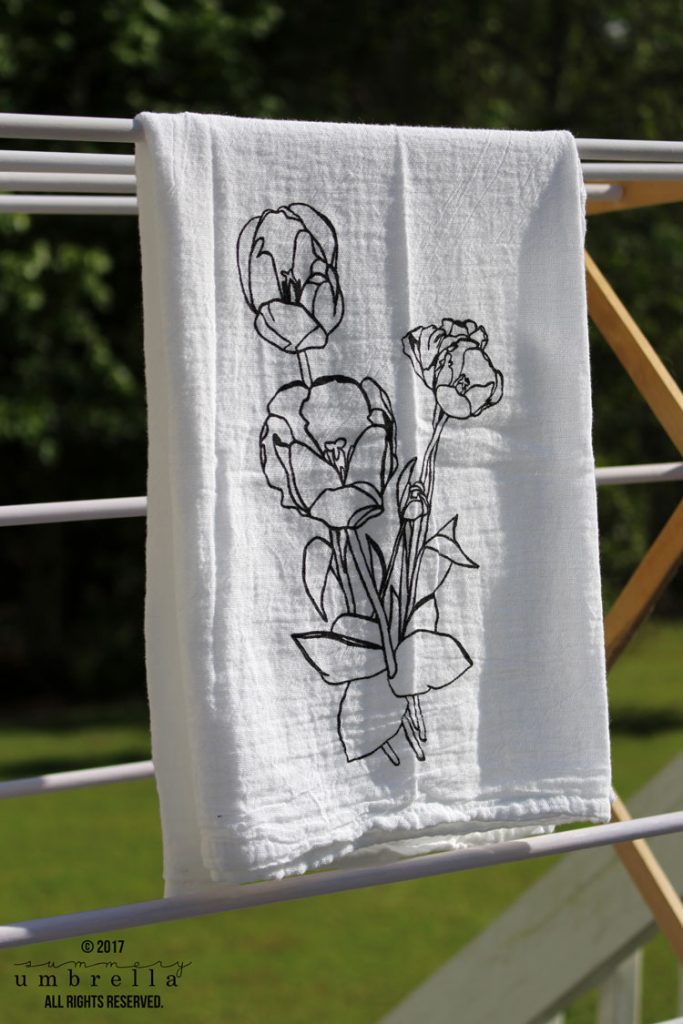 diy screen printing tulip flour sack