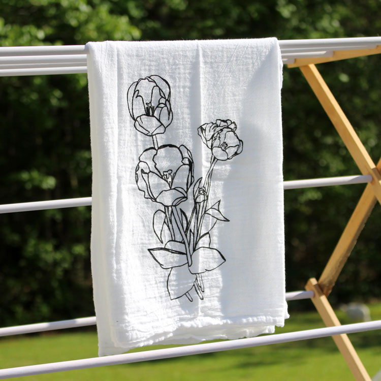 diy tulip tea towel