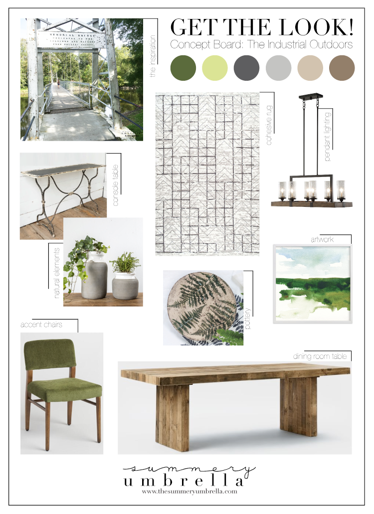 Looking for an interesting way to bring the outdoors inside? Get the look with with this industrial outdoors dining room concept board that shows you how!