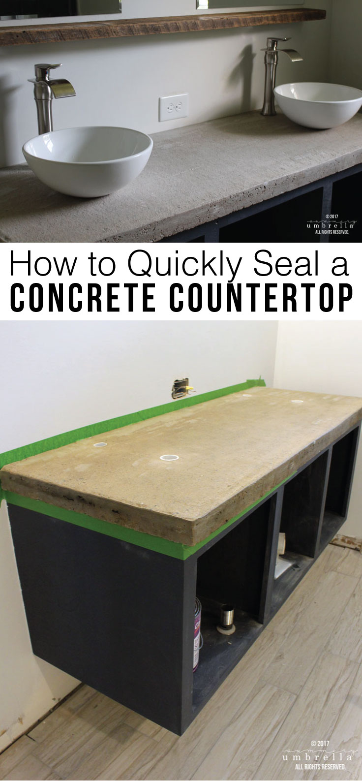 Do you love that industrial look of a concrete countertop, but not sure how well it would hold up? Let me show you how seal it up to get this look NOW!