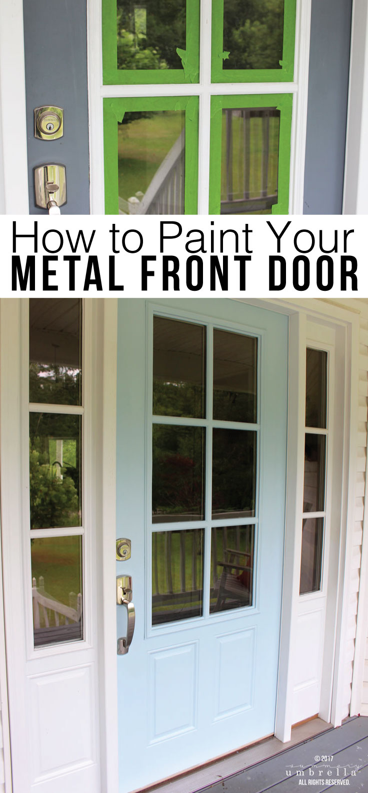How to paint your metal front door the easy way with just a few simple steps. It's super simple, and requires only some basic supplies.