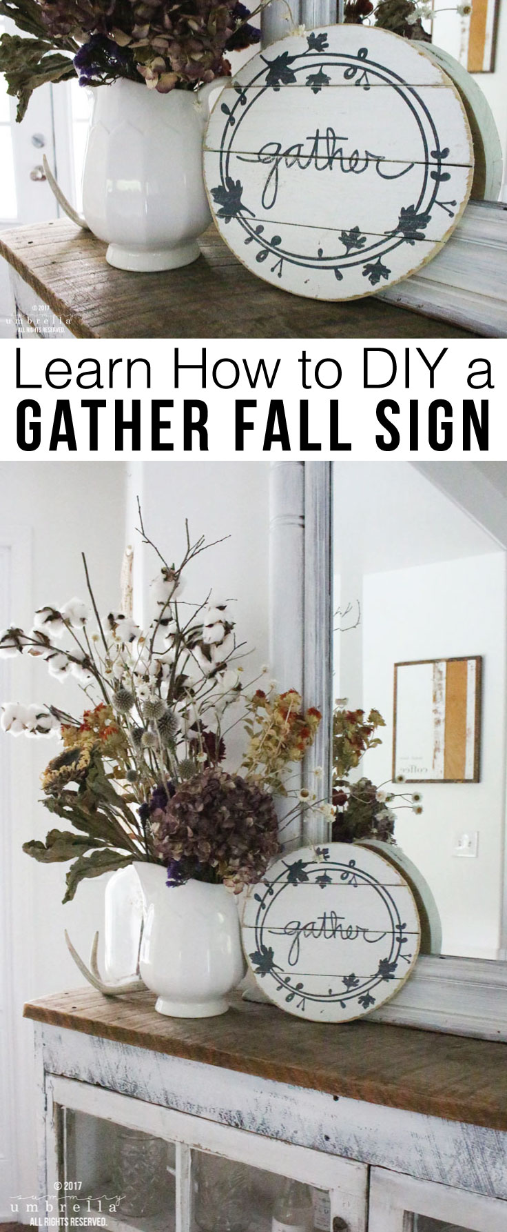 Learn how to create your very own DIY Gather Fall Sign. Not only is there a step-by-step tutorial, but a video too! MUST PIN!