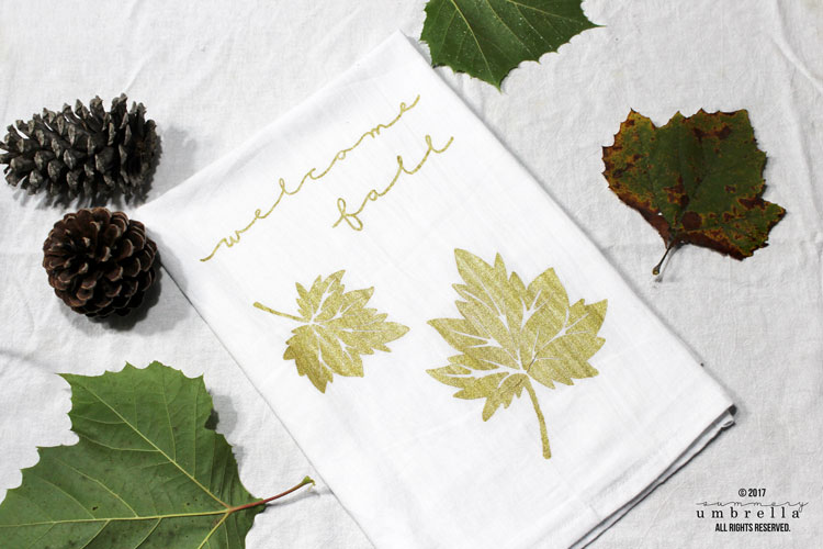 diy fall tea towel printing