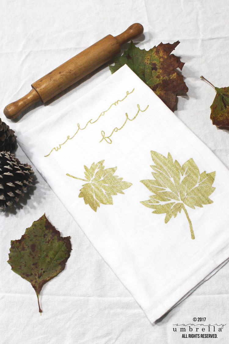 easy diy fall tea towels
