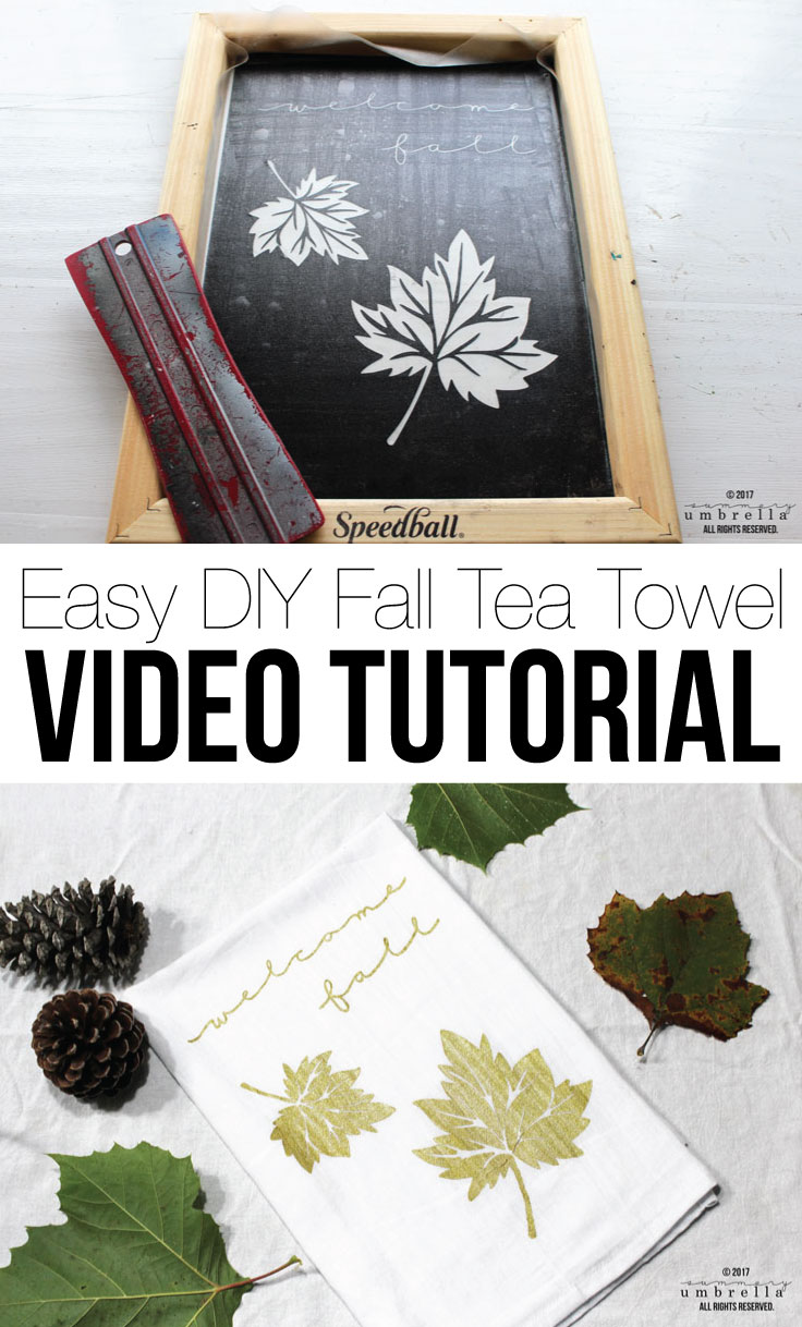 Let's get your home ready for fall with this gorgeous and easy DIY Fall Tea Towel with Video Tutorial! Not only will it help you dry your hands off while you're cooking up a storm, but will provide a little festive character as well.