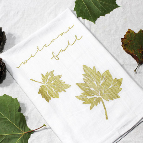 Easy DIY Fall Tea Towel with Video Tutorial