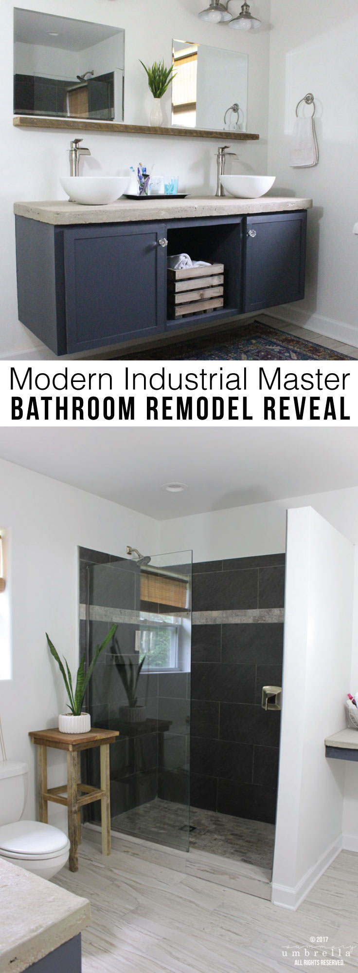 Come join me as I reveal my modern industrial master bathroom remodel. MUST PIN!