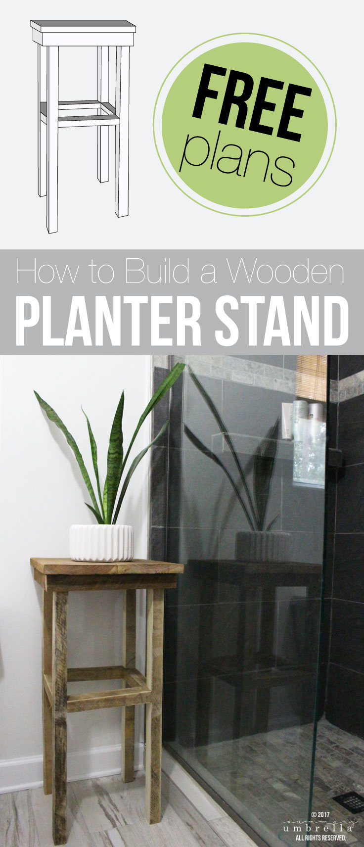 Create your own wooden planter stand that's perfect for any room of the house, or even display it outdoors! My favorite place? The bathroom! Learn how to create your own with these free plans!