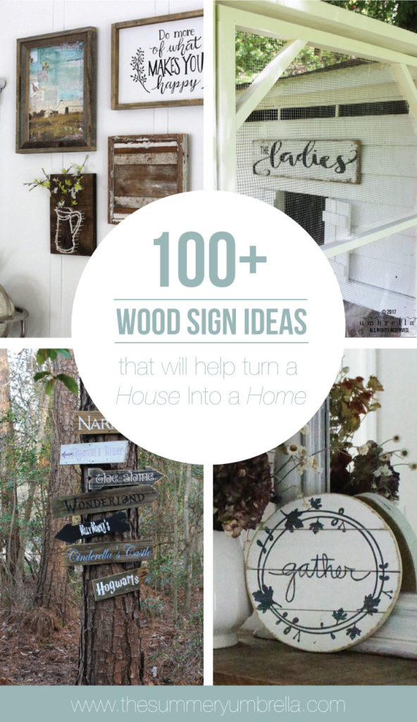 Do you love wood signs, but struggle where to put them or which ones to use? You're in luck because this post is for you! Learn how with these 100+ Wood Sign Ideas That Will Help Turn a House Into a Home. #woodsigns #svgfiles #thesummeryumbrella