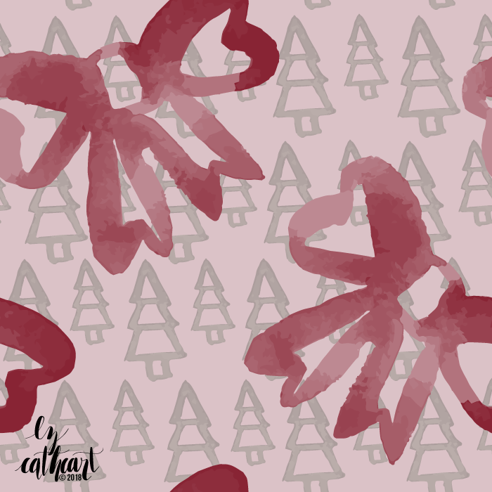 christmas tree repeating pattern pink