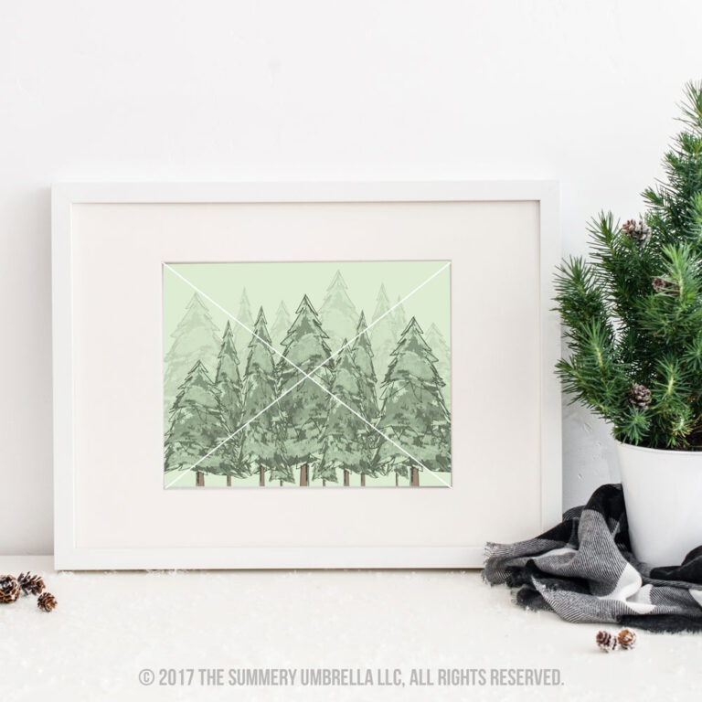watercolor evergreen