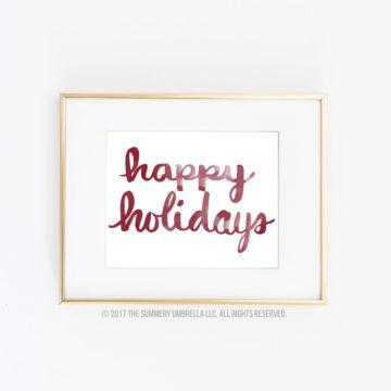 happy holidays printable