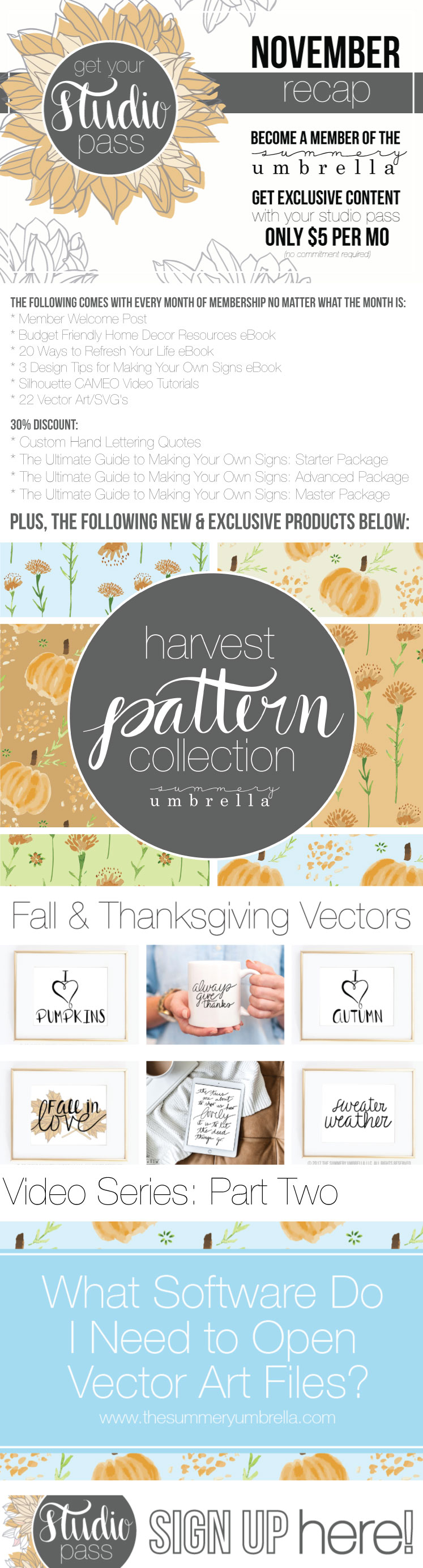 Vector artists unite! Join us for exclusive crafts tutorials, custom SVG files, and more. Check out this November Recap for more info, and then get yours today!