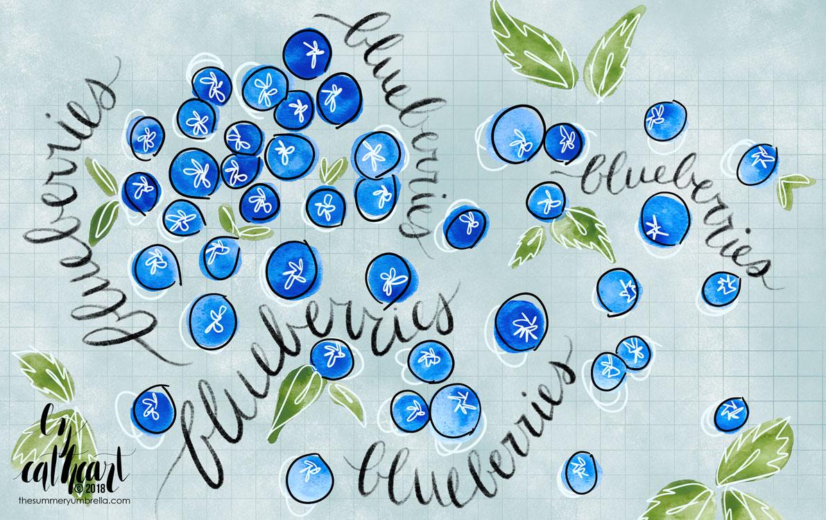 hand drawn blueberry pattern