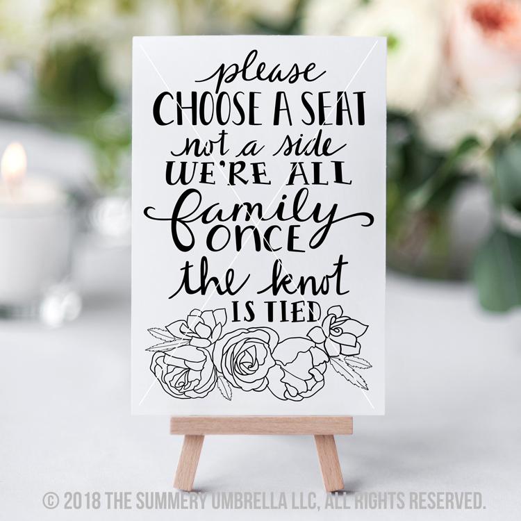 please choose a seat printable