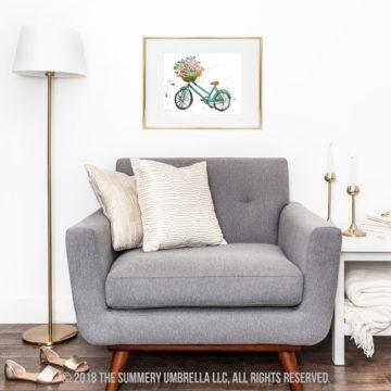 vintage bicycle with flower basket printable