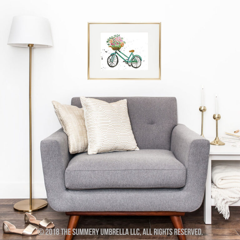 NEW DOWNLOAD: Blue Vintage Bicycle Printable with Flowers