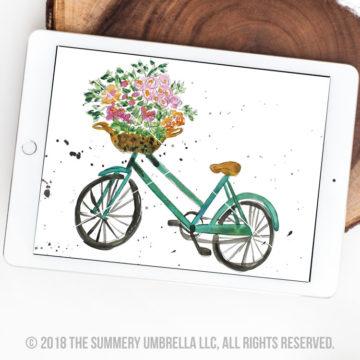 vintage bicycle with flowers printable