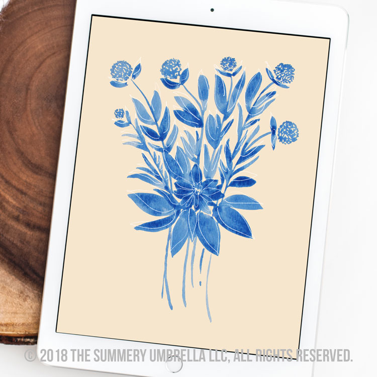 Blue Flowers Bouquet Printable