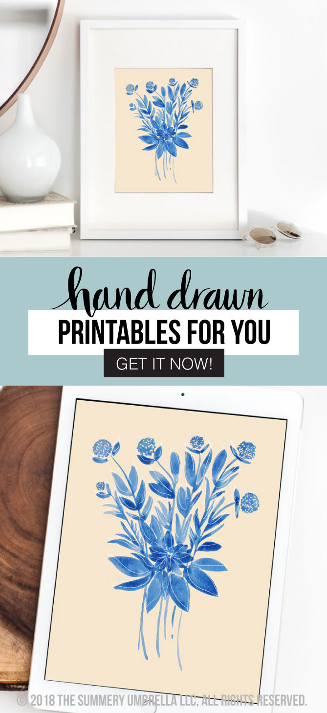 Enjoy this gorgeous, farmhouse inspired hand drawn printable that is perfect for any room of the house, but also makes a beautiful gift as well! This free (for a limited time!) Blue Flower Bouquet Printable download is also available in a variety of sizes. #printable #freebie #farmhousestyle #flowerbouquetprintable