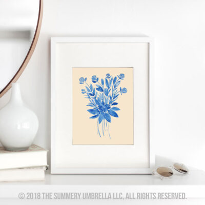 Free Download: Blue Flower Bouquet Printable