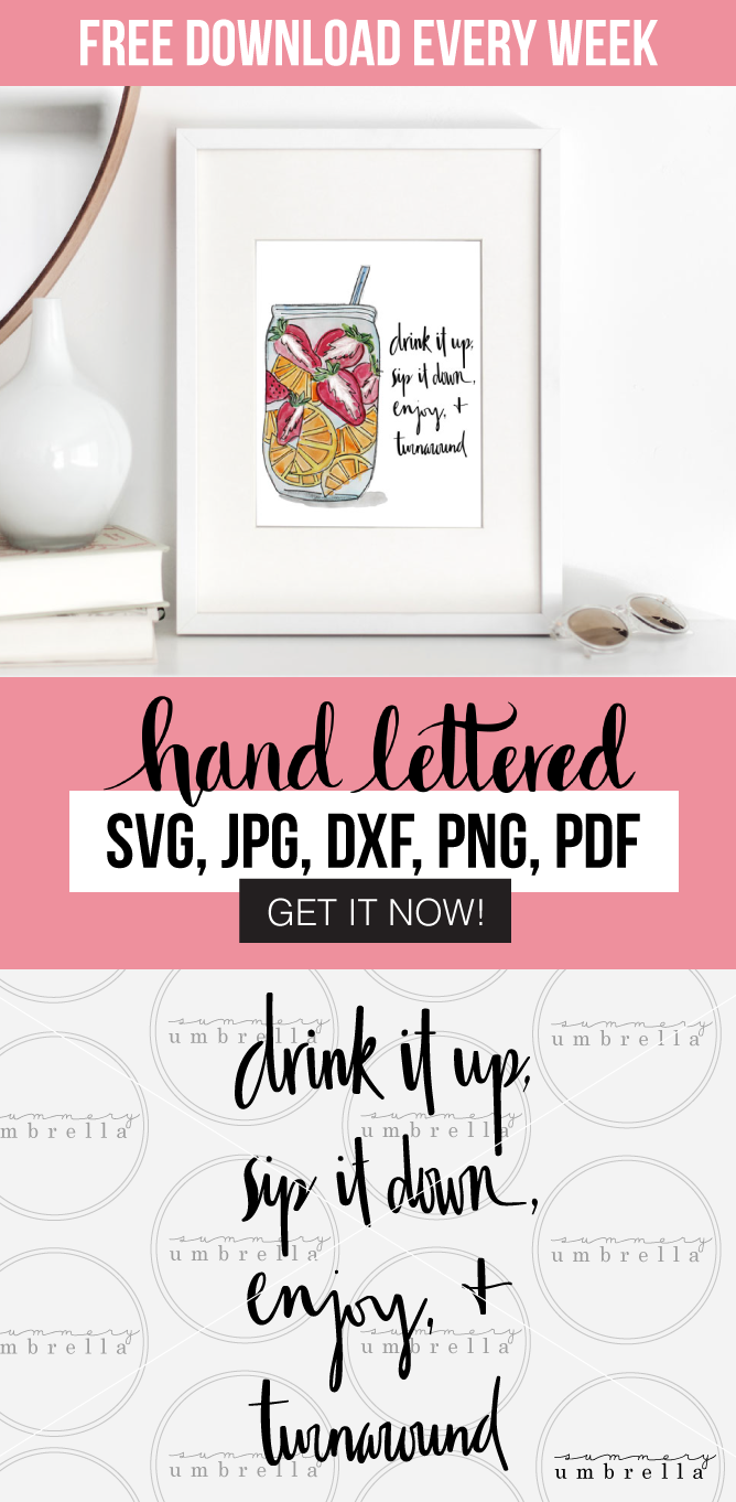 Let the good times roll with this summer inspired Drink it Up Printable and SVG! Enjoy this free download (for a limited time) that includes: SVG, JPG, PNG, DXF, and PDF files. Grab it now before it's too late!