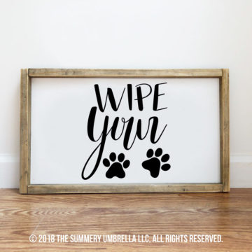 diy wipe your paws sign
