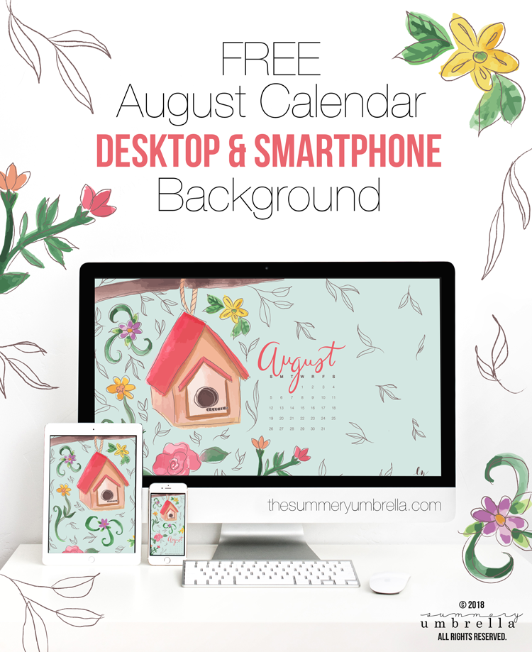 Well hello, August! Looking for a new (and FREE) August Calendar download? Stop on by to get this beauty today for both your desktop and smartphone.