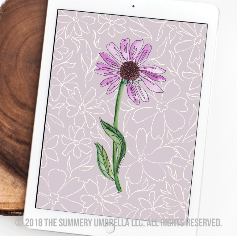 purple daisy printable