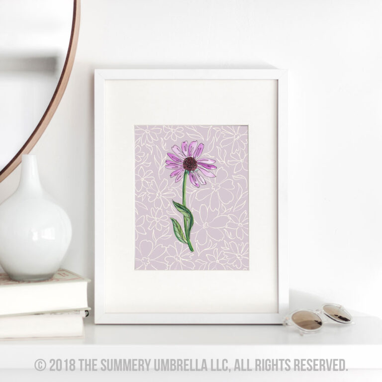 purple flower printable