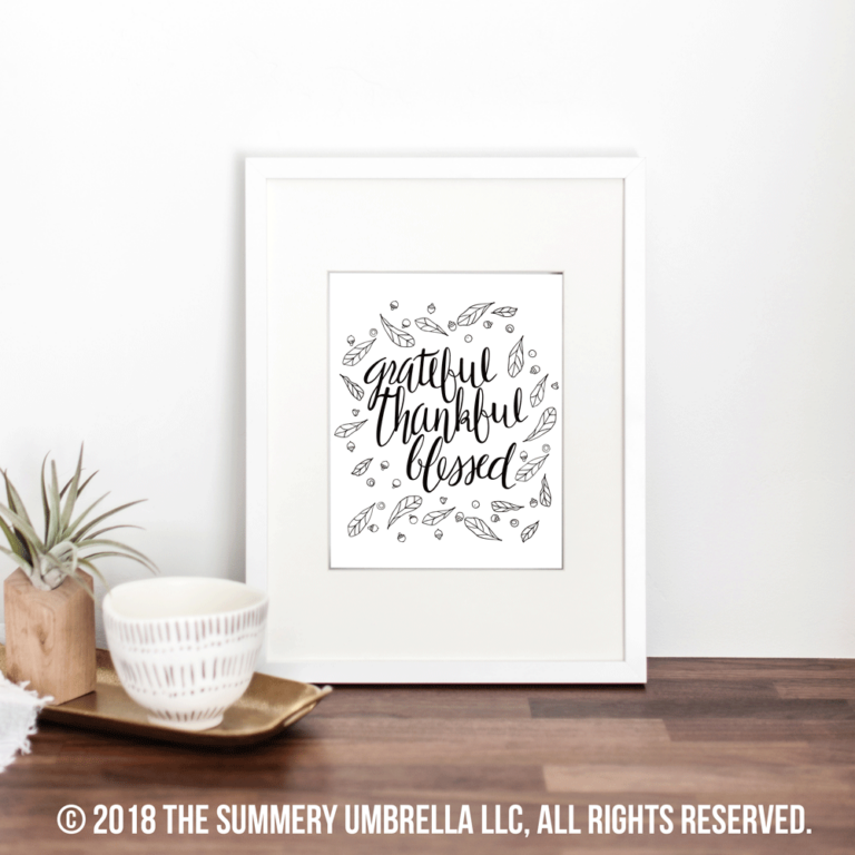 Feast Your Eyes on this NEW Grateful Thankful Blessed Printable and SVG