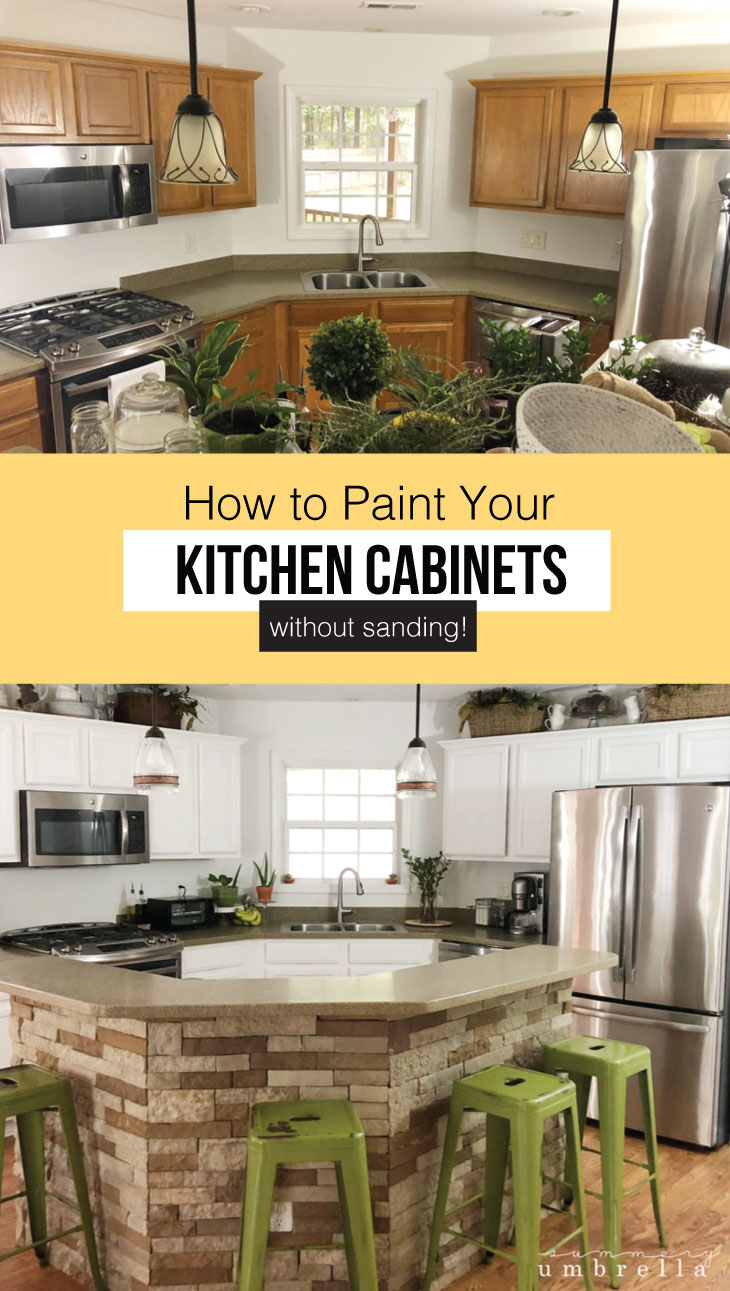 Not a fan of the color of your kitchen cabinets, but need an easy way fix it quick? Don't worry! Learn how to paint kitchen cabinets without sanding them in this tutorial. #howtopaintkitchencabinets #howtopaintkitchencabinetswithoutsanding #stepbysteppaintingkitchencabinets #diykitchencabinets #withoutsanding #kitchencabinetsmakeover #paintingkitchencabinetsideas