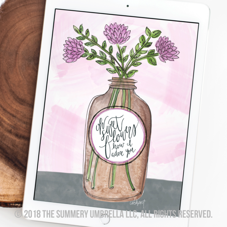 vintage brown jar with flowers instant download