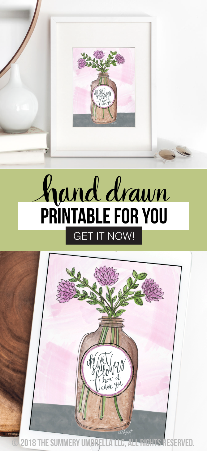 Add an unique twist of something rustic combined with a modern flair to your home decor with this gorgeous Vintage Brown Jar with Flowers Printable! Enjoy this free printable download (for a limited time). Grab it now! #printable #flowerprintable #artprintable