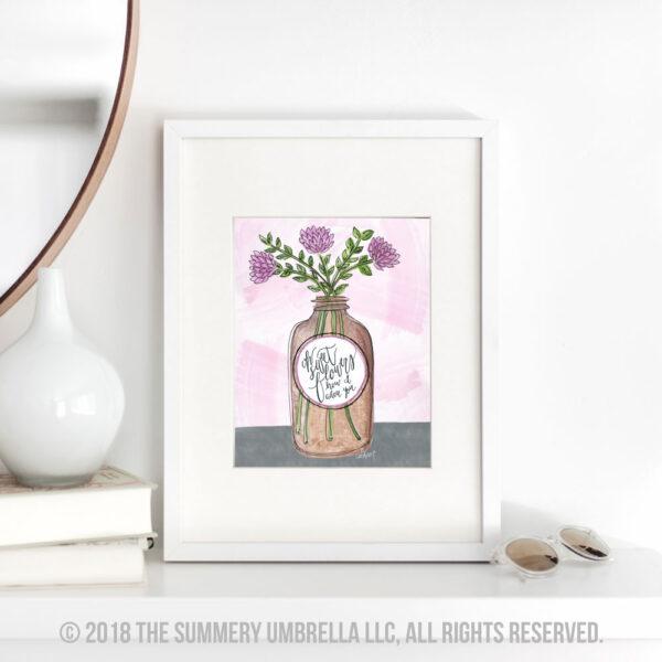 vintage brown jar with flowers
