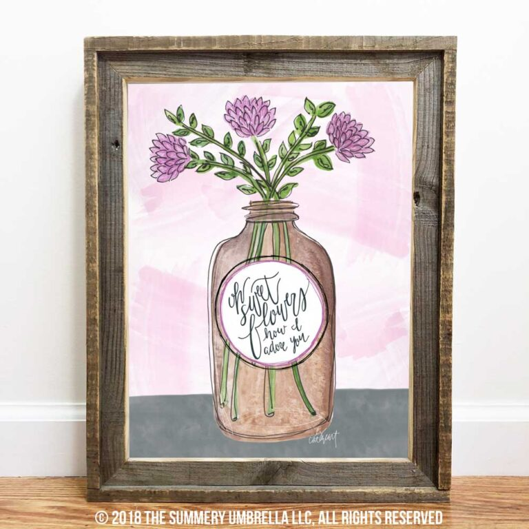 vintage brown jar with flowers printable