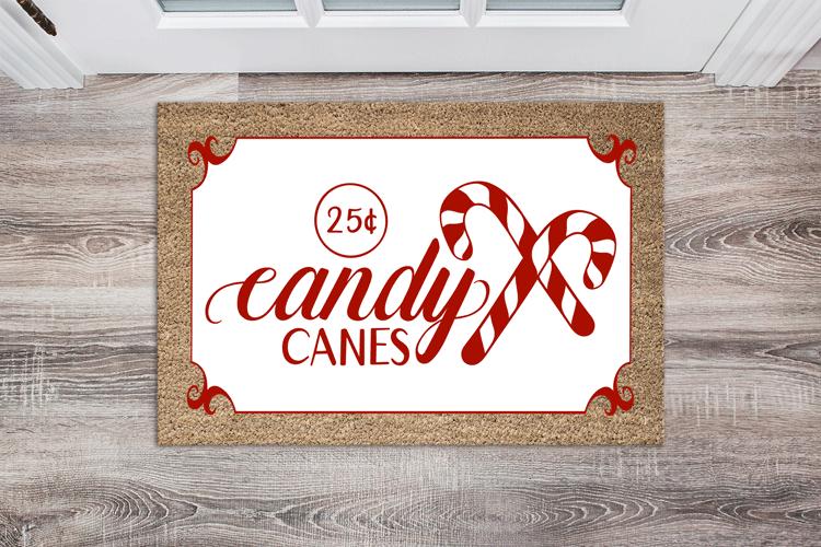 candy canes doormat