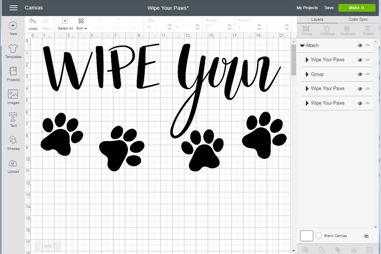Wipe Your Paws - Edit SVG in Cricut Design Space by The Birch Cottage