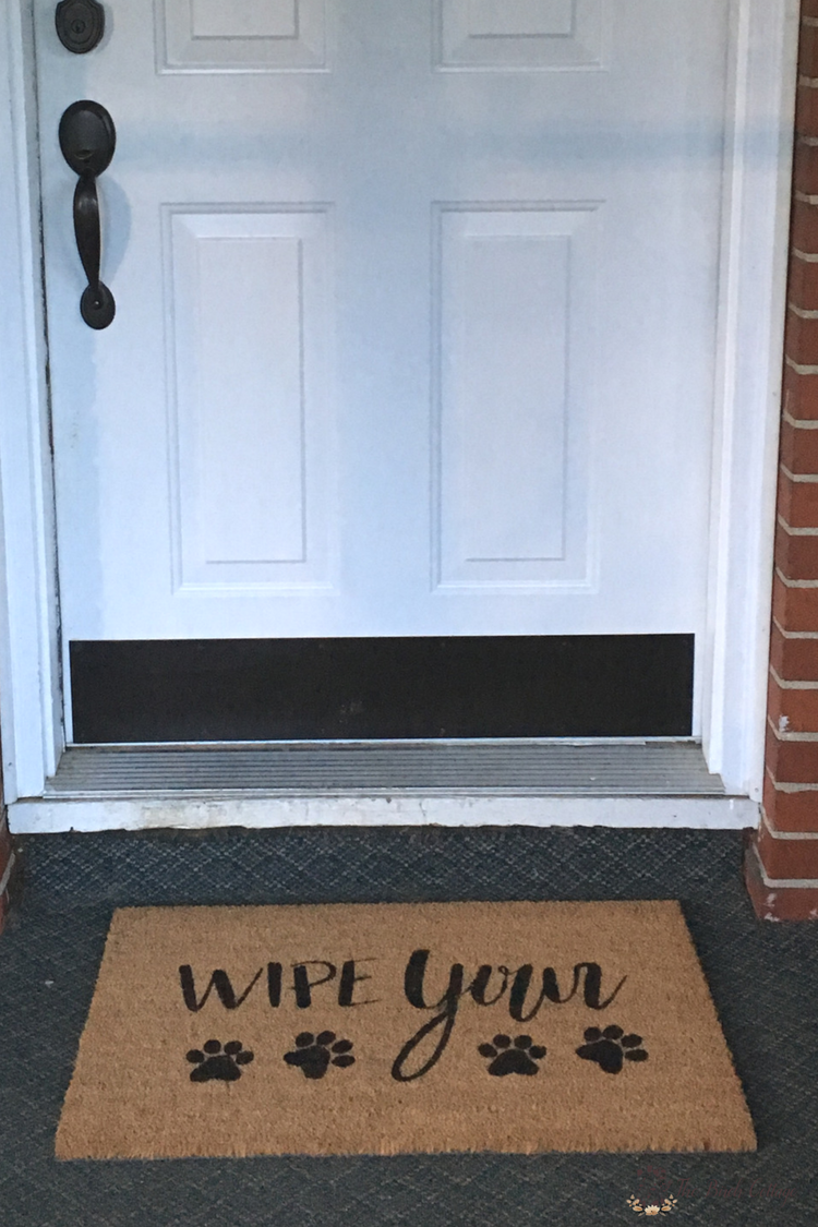 Create this easy Wipe Your Paws DIY Personalized Doormat with your Cricut to add some personality to your home. Come learn how to paint a coir doormat using a stencil and outdoor paint! #diydoormat #frontporch #cricut #cutfile #svgcutfiles #SVG #thesummeryumbrella