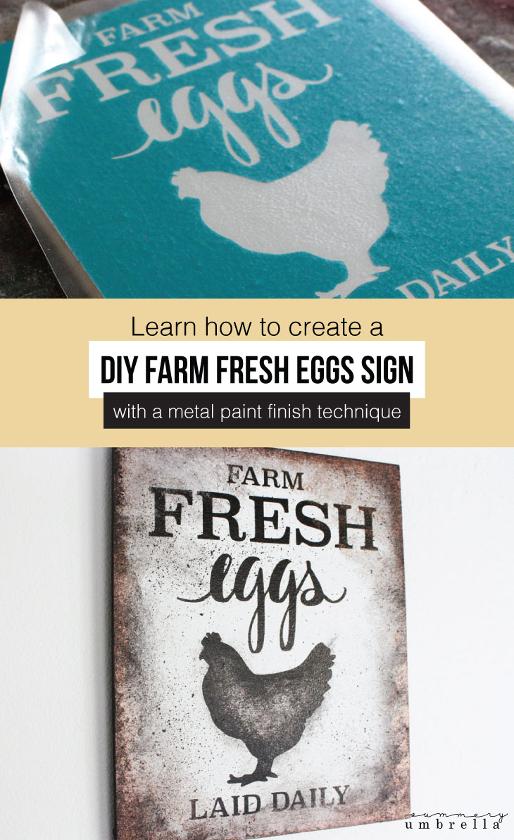 Create your very own DIY Farm Fresh Eggs Sign with a Faux Metal Paint Finish. Video tutorial included. Learn how today! #diysign #diywoodsign #diyfarmhousesign #diyfarmfresheggssign #metalpaintfinish #signtutorial