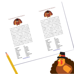 Thanksgiving Word Search by The Birch Cottage