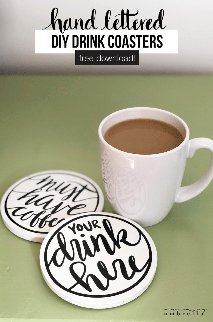 In this super simple tutorial I'm going to show you just how easy it is to make your own drink coasters. Plus, it even includes a free download! #diyhomedecor #homedecor #thesummeryumbrella #lzcathcart #coffeecoasters #drinkcoasters