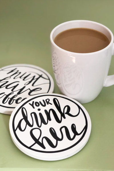 Easy DIY Hand Lettered Drink Coasters (Free Download)
