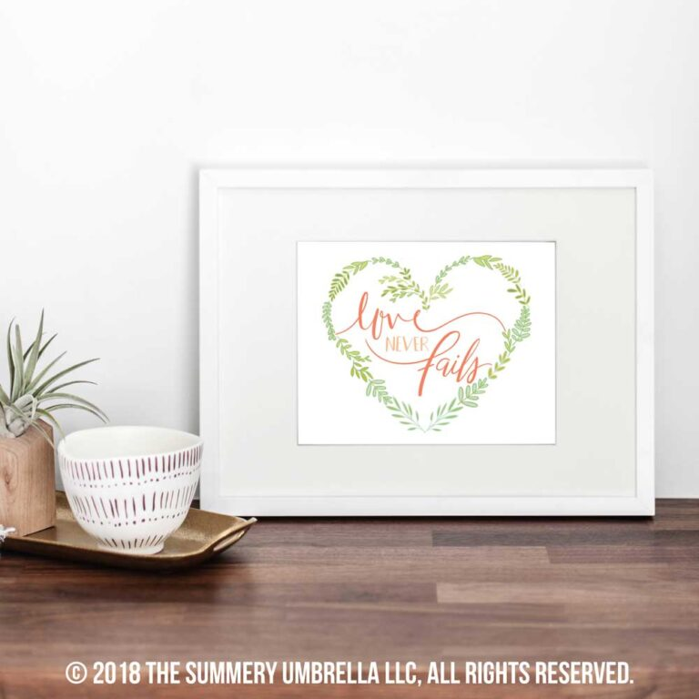Love Never Fails Printable and SVG