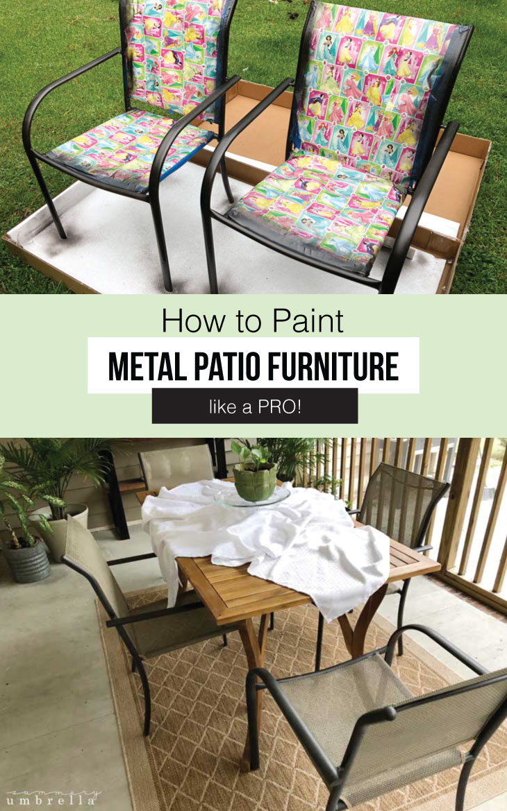 Have you been wanting to learn how to paint metal patio furniture like a pro? Then today's your lucky day! Check out this tutorial for more. #paintmetalpatiofurniture #howtopaintmetalfurniture #paintmetalfurnitureideas #paintmetalfurniturecolour #outdoorliving #diypaintmetalpatiofurniture