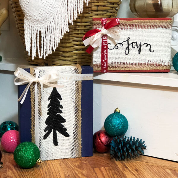 burlap christmas sign