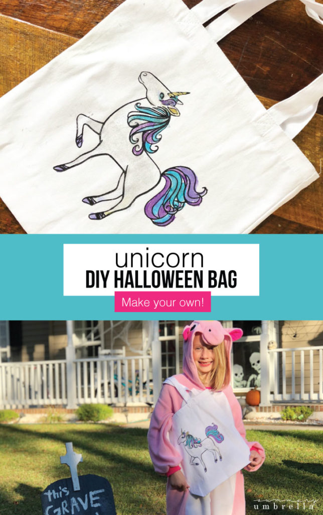 It doesn't have to be Halloween to create this adorable unicorn inspired DIY Halloween Bag. Make this beauty now, but use it for any time of the year! #diyunicornbag #diyhalloweenbag #treatortreat #unicorntemplate