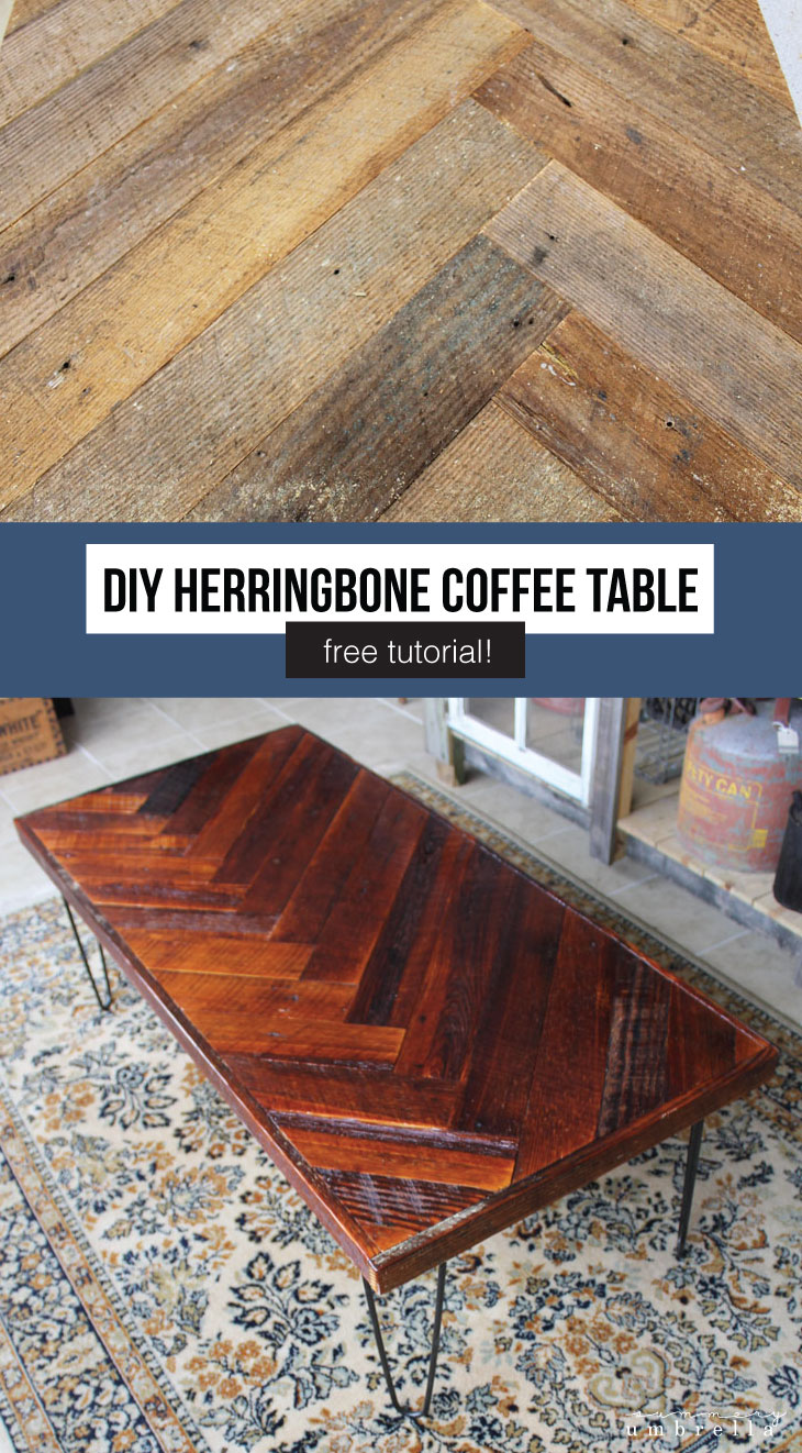 Have you ever wanted to create your very own DIY Herringbone Coffee Table with Hairpin Legs? Today, I'm going to show you how! MUST SEE! #coffeetable #diyfurniture #thesummeryumbrella