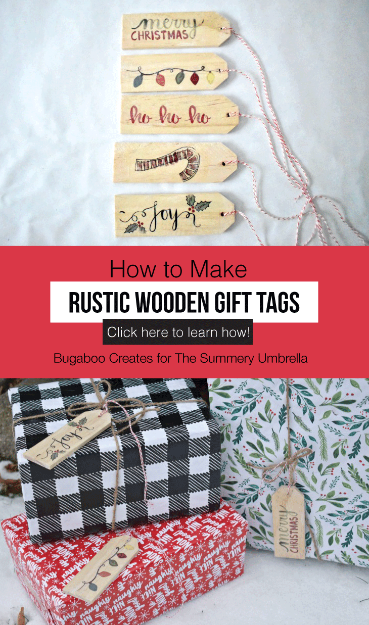 Easily personalize a Christmas gift with a creative DIY gift tag. There are a lot of gift tag ideas to choose from, but these handmade wooden gift tags are super easy and cute, and can double as ornaments for next Christmas! #gifttags #christmas #thesummeryumbrella